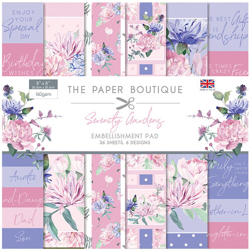 The Paper Boutique - Serenity Gardens Collection - 8 x 8 Embellishments Pad