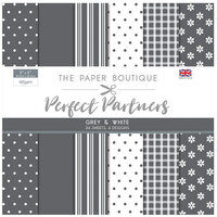 The Paper Boutique - Perfect Partners Collection - 8 x 8 Paper Pad - Grey and White