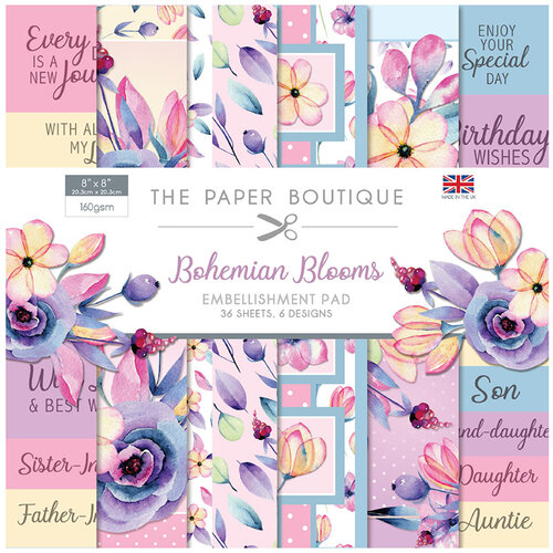 The Paper Boutique - Bohemian Blooms Collection - 8 x 8 Embellishments Pad