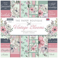 The Paper Boutique - Vintage Blooms Collection - 8 x 8 Embellishments Pad