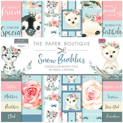 The Paper Boutique - Snow Buddies Collection - 8 x 8 Embellishments Pad
