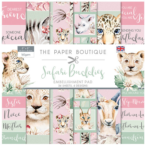 The Paper Boutique - Safari Buddies Collection - 8 x 8 Embellishments Pad