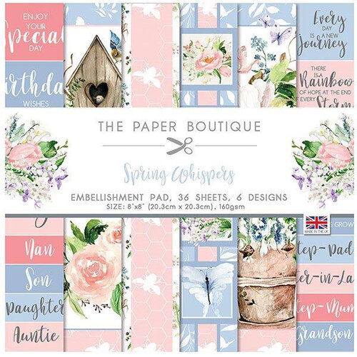The Paper Boutique - Spring Whispers Collection - 8 x 8 Embellishments Pad
