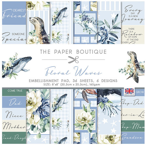 The Paper Boutique - Floral Waves Collection - 8 x 8 Embellishments Pad
