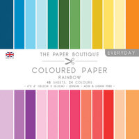 The Paper Boutique - Everyday Collection - 6 x 6 Coloured Paper Pack - Rainbow