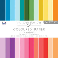 The Paper Boutique - Everyday Collection - 12 x 12 Coloured Paper Pack - Rainbow