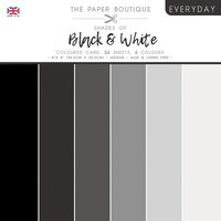 The Paper Boutique - Everyday Collection - 8 x 8 Colour Card Pack - Shades Of Black and White