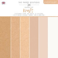 The Paper Boutique - Everyday Collection - 8 x 8 Colour Card Pack - Shades Of Kraft