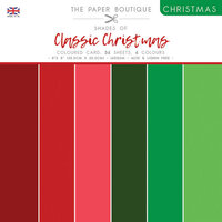 The Paper Boutique - Christmas Collection - 8 x 8 Colour Card Pack - Shades Of Classic Christmas