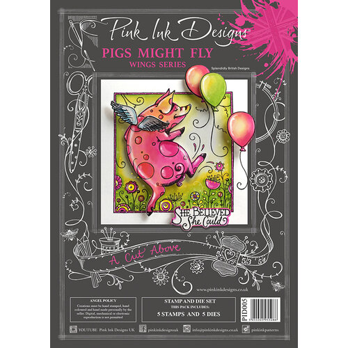 Pink Ink Designs - A Cut Above - Die and Clear Acrylic Stamp Set - Pigs Might Fly