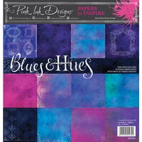 Pink Ink Designs - Festive Collection - 12 x 12 Paper Pad - Blues and Hues