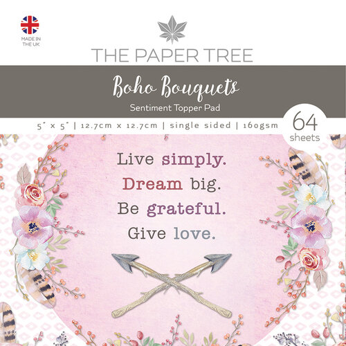 The Paper Tree - Boho Bouquets Collection - 5 x 5 Sentiment Pad