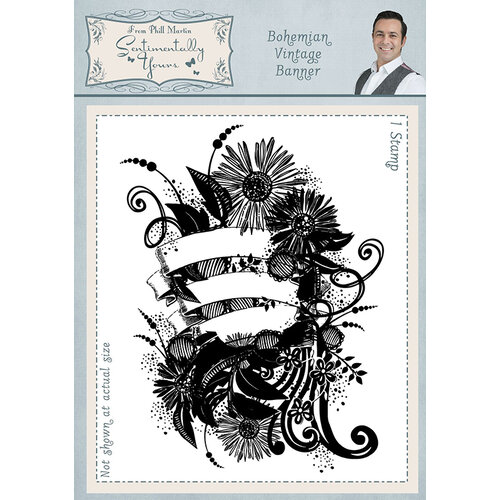 Creative Expressions - Sentimentally Yours Collection - Cling Rubber Stamp - A6 - Bohemian Vintage Banner