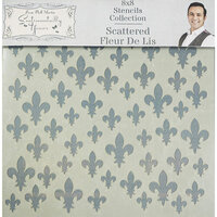 Creative Expressions - Sentimentally Yours Collection - Stencils - 8 x 8 - Scattered Fleur De Lis