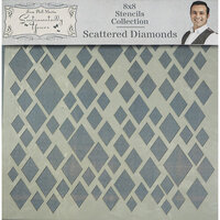 Creative Expressions - Sentimentally Yours Collection - Stencils - 8 x 8 - Scattered Diamonds