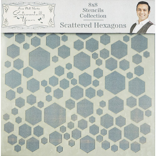 Creative Expressions - Sentimentally Yours Collection - Stencils - 8 x 8 - Scattered Hexagons