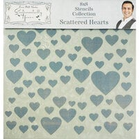 Creative Expressions - Sentimentally Yours Collection - Stencils - 8 x 8 - Scattered Hearts