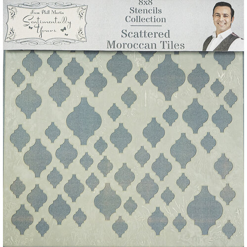 Creative Expressions - Sentimentally Yours Collection - Stencils - 8 x 8 - Scattered Moroccan Tiles