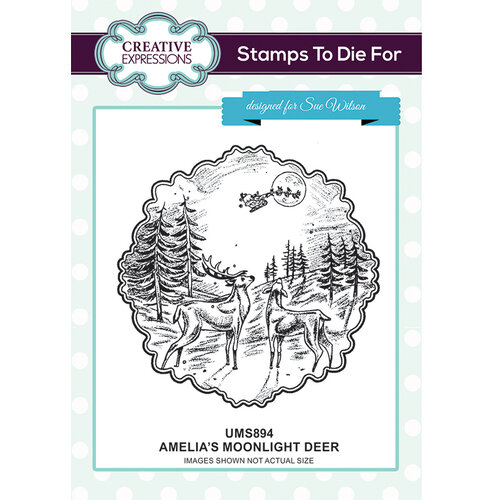 Creative Expressions - Christmas - Unmounted Rubber Stamps - Amelia's Moonlight Deer