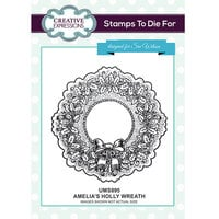 Creative Expressions - Christmas - Unmounted Rubber Stamps - Amelia's Holly Wreath