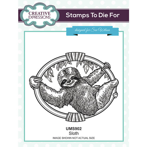 Creative Expressions - Safari Collection - Pre Cut Rubber Stamp - Sloth