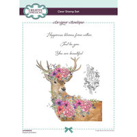 Creative Expressions - Designer Boutique Collection - Clear Acrylic Stamps - Flowers and Antlers