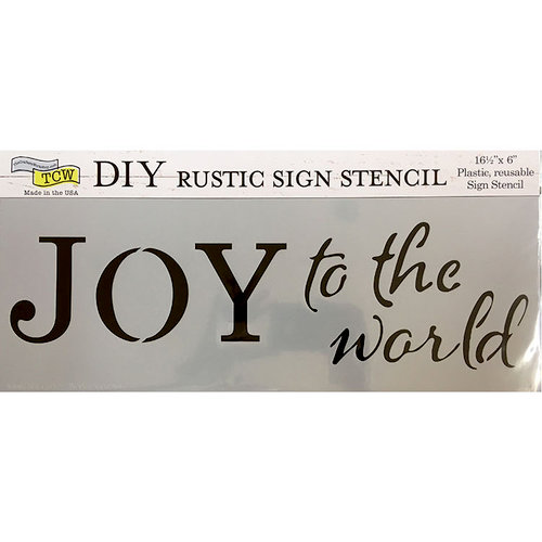 The Crafter's Workshop - Christmas - 16.5 x 6 Rustic Sign Stencil - Joy to the World