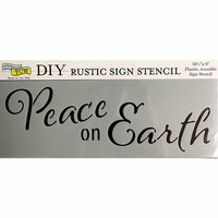 The Crafter's Workshop - Christmas - 16.5 x 6 Rustic Sign Stencil - Peace on Earth