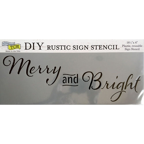 The Crafter's Workshop - Christmas - 16.5 x 6 Rustic Sign Stencil - Merry and Bright