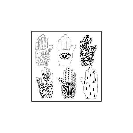 The Crafter's Workshop - 6 x 6 Doodling Templates - Mini Henna Hands