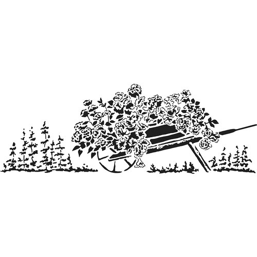 The Crafter's Workshop - Stencils - 16.5 x 6 - Flowery Wheelbarrow