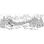 The Crafter's Workshop - Stencils - 16.5 x 6 - Snowy Cabin