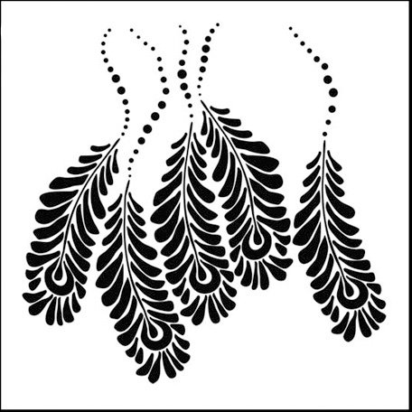 The Crafter's Workshop - 12 x 12 Doodling Templates - Peacock Feathers