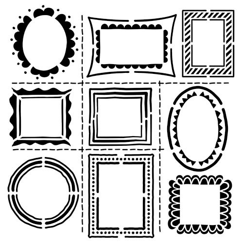 The Crafter's Workshop - 12 x 12 Doodling Template - Hand Drawn Frames