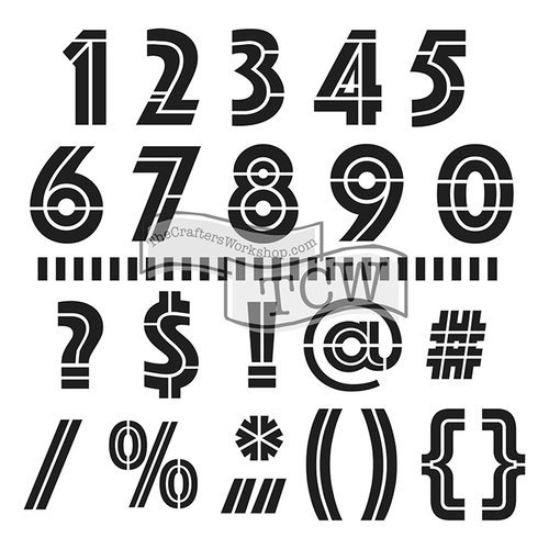 The Crafters Workshop - 6 x 6 Doodling Templates - Mini Art Deco Numbers and More