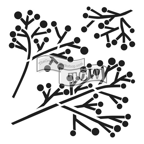 The Crafters Workshop - 6 x 6 Doodling Templates - Mini Twig and Berries