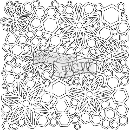 The Crafters Workshop - 12 x 12 Doodling Templates - Hex Flowers