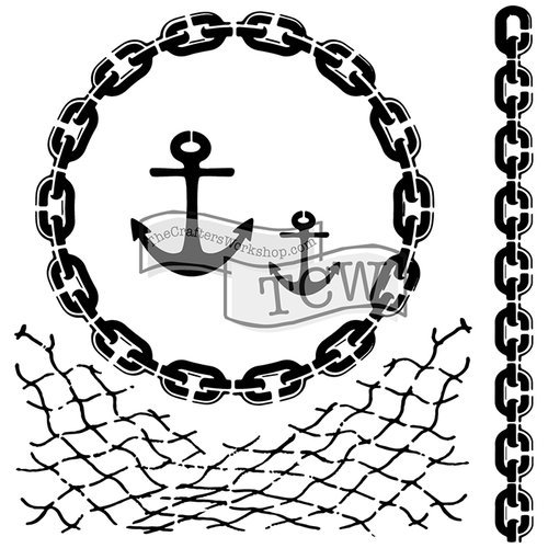 The Crafters Workshop - 6 x 6 Doodling Templates - Mini Nautical Chains