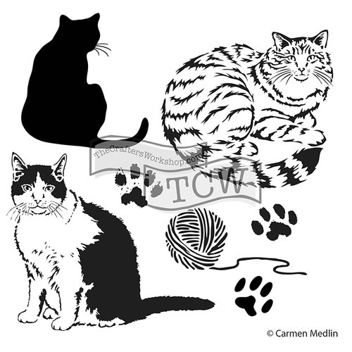 The Crafters Workshop - 12 x 12 Doodling Templates - Kitties