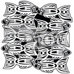 The Crafters Workshop - 12 x 12 Doodling Template - Tribal Fish