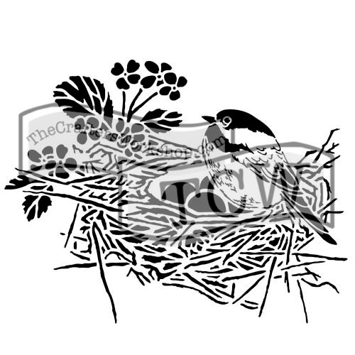 The Crafters Workshop - 12 x 12 Doodling Templates - Bird Nest