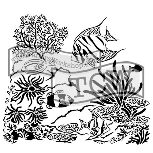 The Crafters Workshop - 12 x 12 Doodling Templates - Aquarium