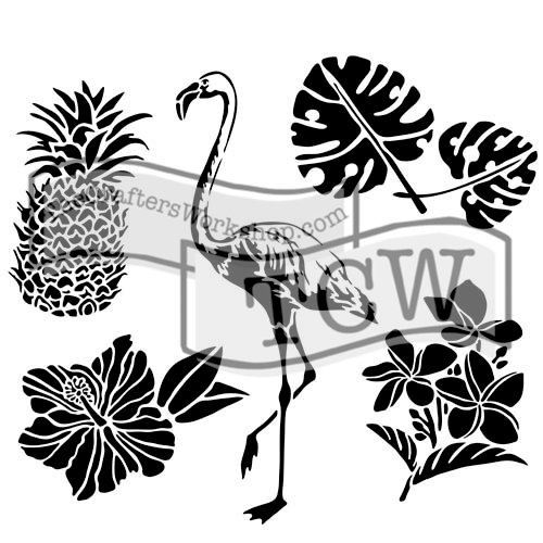 The Crafters Workshop - 6 x 6 Doodling Templates - Mini Tropical Elements