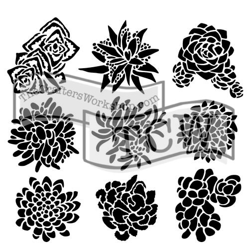 The Crafters Workshop - 12 x 12 Doodling Templates - Pretty Succulents