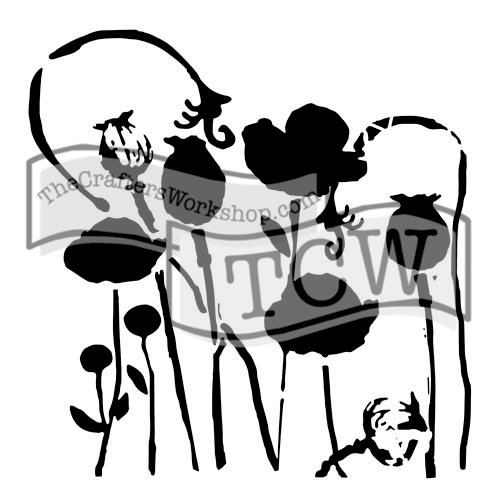 The Crafters Workshop - 12 x 12 Doodling Templates - Poppy Garden
