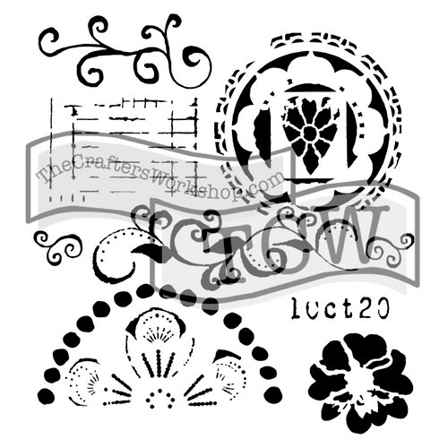 The Crafters Workshop - 6 x 6 Doodling Templates - Mini Swirly Cue