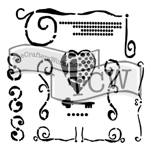 The Crafters Workshop - 12 x 12 Doodling Templates - Heart Key
