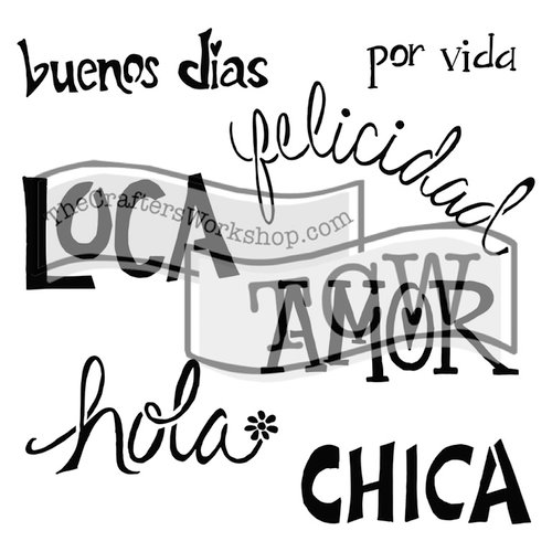 The Crafters Workshop - 6 x 6 Doodling Templates - Mini Chica Words