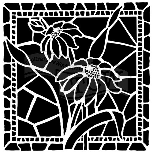 The Crafter's Workshop - 12 x 12 Doodling Templates - Stained Glass Daisies