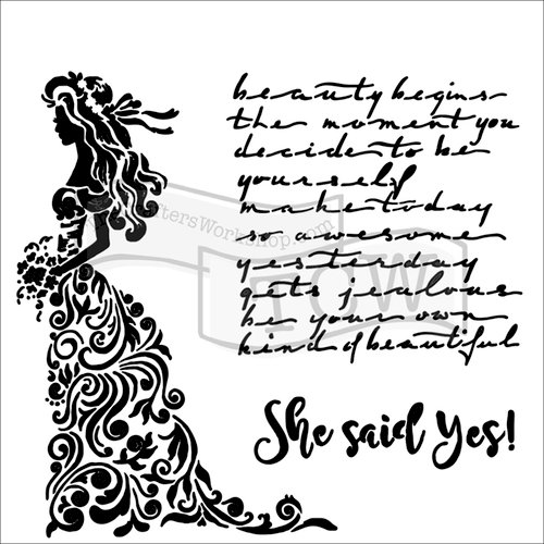 The Crafters Workshop - 6 x 6 Doodling Templates - She said Yes